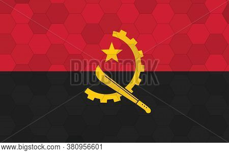Angola Flag Illustration. Futuristic Angolan Flag Graphic With Abstract Hexagon Background Vector. A