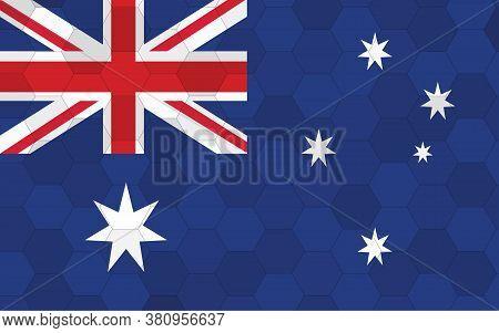 Australia Flag Illustration. Futuristic Australian Flag Graphic With Abstract Hexagon Background Vec