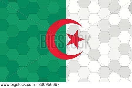 Algeria Flag Illustration. Futuristic Algerian Flag Graphic With Abstract Hexagon Background Vector.