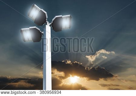 Led Lights On White Steel Poles, Energy Saving Technology Separated From The Background.