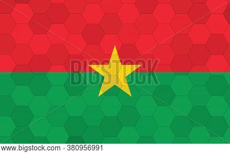 Burkina Faso Flag Illustration. Futuristic Burkinabe Flag Graphic With Abstract Hexagon Background V