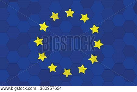 Europe Flag Illustration. Futuristic European Flag Graphic With Abstract Hexagon Background Vector.