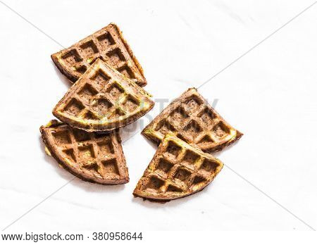 Savory Zucchini Gluten Free Waffles On A Light Background, Top View. Vegetarian Diet Food Concept