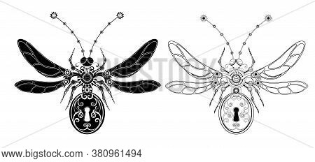 Two Mechanical, Monochrome, Isolated, Contour Insects With Gears And Keyhole The Abdomen. Steampunk