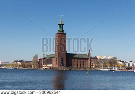 Stockholm, Sweden - April 21 2019: The View City Hall Or Stadshuset Seeing From Riddarholmen On Apri