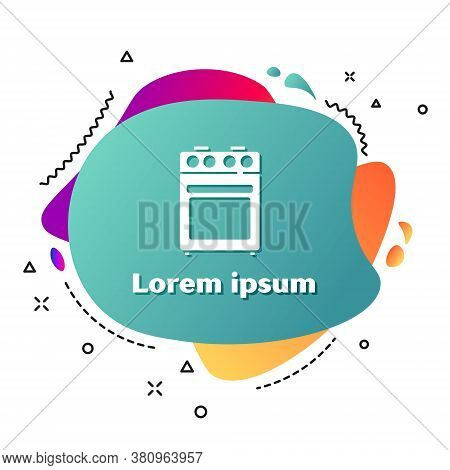 White Oven Icon Isolated On White Background. Stove Gas Oven Sign. Abstract Banner With Liquid Shape
