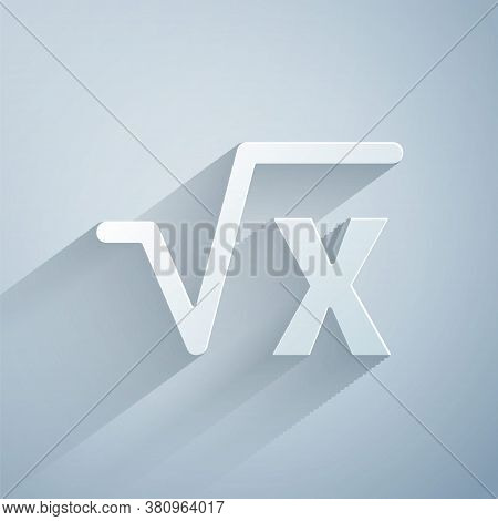 Paper Cut Square Root Of X Glyph Icon Isolated On Grey Background. Mathematical Expression. Paper Ar