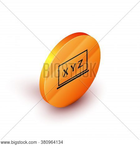 Isometric Xyz Coordinate System On Chalkboard Icon Isolated On White Background. Xyz Axis For Graph