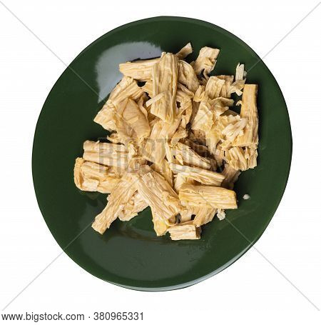 Soy Asparagus Noodles On Dark Green Plate, Isolated On A White Background. Healthy Food . Asian Food