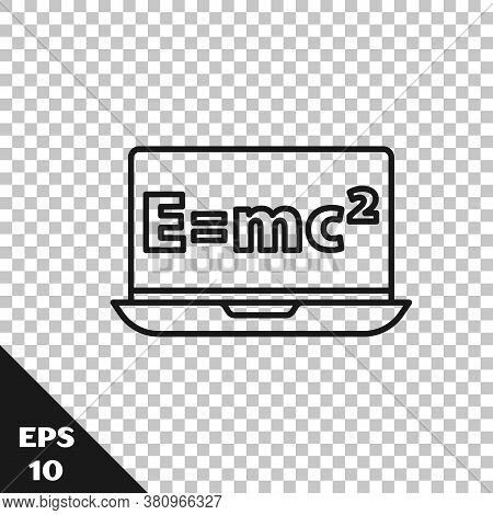 Black Line Math System Of Equation Solution On Laptop Icon Isolated On Transparent Background. E Equ