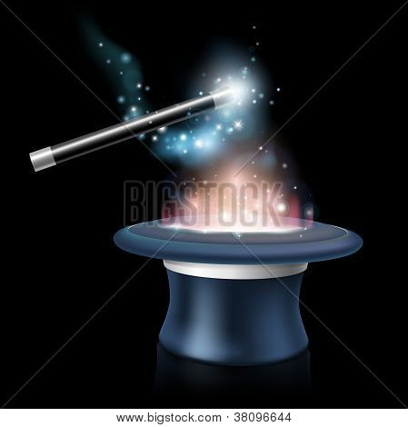Magic tick hat and wand with magical blue light and stars around it being waved over a glowing magic top hat poster