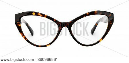 Vintage Glasses Leopard Painted Isolated On White Background. Retro Eye Glasses Cats Eye Shape Front
