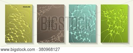Biotechnology And Neuroscience Vector Covers With Neuron Cells Structure. Mobile Curve Lines Grid Te