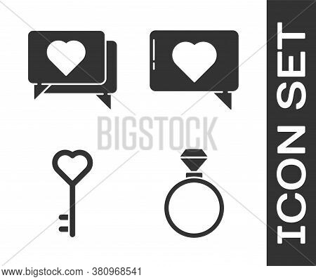 Set Wedding Rings, Like And Heart, Key In Heart Shape And Like And Heart Icon. Vector