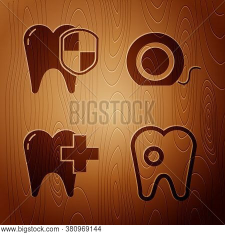Set Tooth With Caries, Dental Protection, Dental Clinic For Dental Care Tooth And Dental Floss On Wo