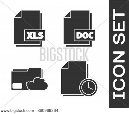 Set Document With Clock, Xls File Document, Cloud Storage Text Document Folder And Doc File Document