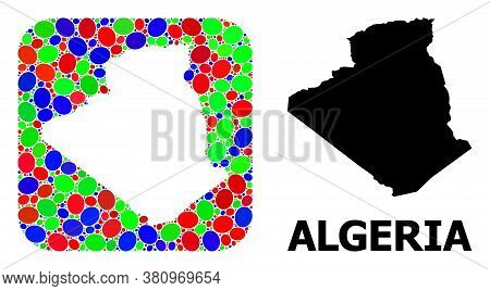Vector Mosaic And Solid Map Of Algeria. Bright Geographic Map Created As Subtraction From Rounded Sq