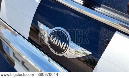 Bordeaux , Aquitaine / France - 08 10 2020 : Mini Cooper Car Logo On Rear Hatchback Model Produced B