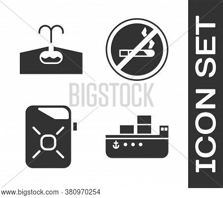 Set Oil Tanker Ship, Oilfield, Canister For Motor Oil And No Smoking Icon. Vector