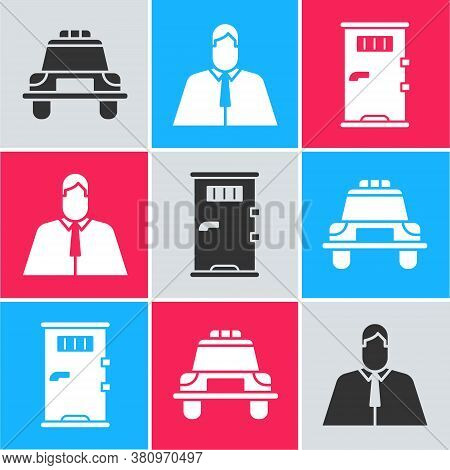 Set Police Car And Flasher, Lawyer, Attorney, Jurist And Prison Cell Door Icon. Vector