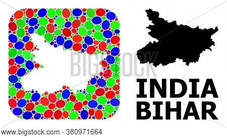 Vector Mosaic And Solid Map Of Bihar State. Bright Geographic Map Designed As Hole From Rounded Squa