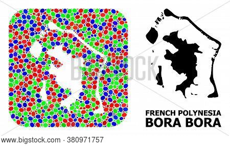 Vector Mosaic And Solid Map Of Bora-bora. Bright Geographic Map Designed As Hole From Rounded Square