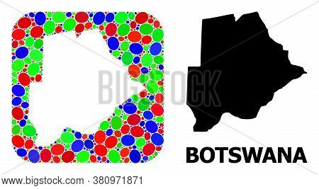Vector Mosaic And Solid Map Of Botswana. Bright Geographic Map Created As Hole From Rounded Square W