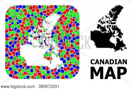 Vector Mosaic And Solid Map Of Canada. Bright Geographic Map Designed As Hole From Rounded Square Wi