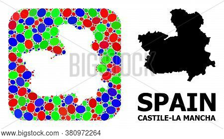 Vector Mosaic And Solid Map Of Castile-la Mancha Province. Bright Geographic Map Created As Hole Fro