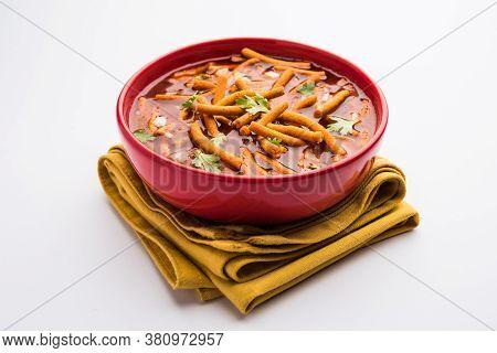Spicy Sev Bhaji Or Ganthiya Nu Shaak Recipe From India