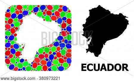 Vector Mosaic And Solid Map Of Ecuador. Bright Geographic Map Designed As Hole From Rounded Square W