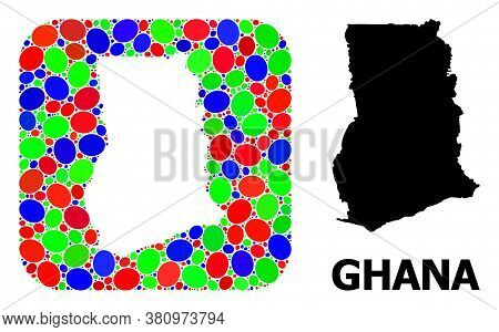 Vector Mosaic And Solid Map Of Ghana. Bright Geographic Map Created As Hole From Rounded Square With