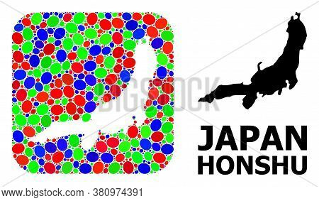 Vector Mosaic And Solid Map Of Honshu Island. Bright Geographic Map Created As Carved Shape From Rou