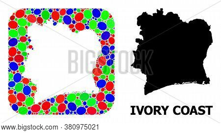 Vector Mosaic And Solid Map Of Ivory Coast. Bright Geographic Map Designed As Hole From Rounded Squa