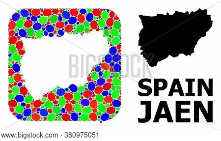 Vector Mosaic And Solid Map Of Jaen Spanish Province. Bright Geographic Map Designed As Stencil From