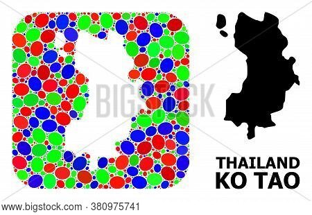 Vector Mosaic And Solid Map Of Ko Tao. Bright Geographic Map Designed As Subtraction From Rounded Sq