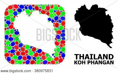 Vector Mosaic And Solid Map Of Koh Phangan. Bright Geographic Map Created As Hole From Rounded Squar