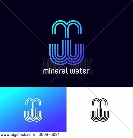 M And W Monogram. Mineral Water Emblem Like Fountain. Pure Water Logo. Delivery Of Water. The Minima