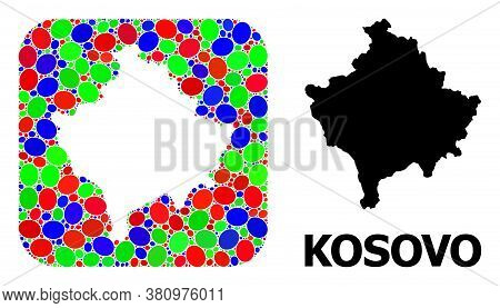 Vector Mosaic And Solid Map Of Kosovo. Bright Geographic Map Designed As Stencil From Rounded Square