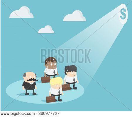 Businessman Who Is Hypnotized With Money Illustration