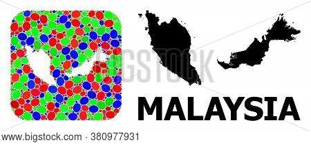 Vector Mosaic And Solid Map Of Malaysia. Bright Geographic Map Created As Carved Shape From Rounded