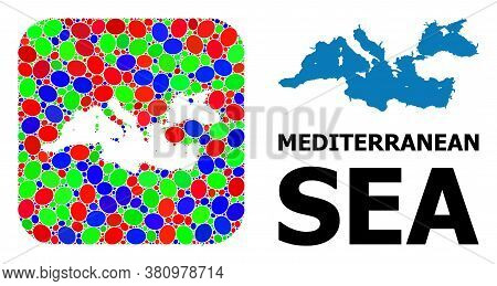 Vector Mosaic And Solid Map Of Mediterranean Sea. Bright Geographic Map Designed As Stencil From Rou