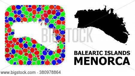 Vector Mosaic And Solid Map Of Menorca Island. Bright Geographic Map Created As Hole From Rounded Sq