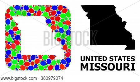 Vector Mosaic And Solid Map Of Missouri State. Bright Geographic Map Designed As Hole From Rounded S