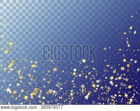 Star Shining Gold Gradient Sparkles On Transparent Background. Shiny Vector Magic Stars Gold Falling