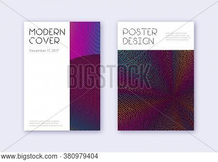 Minimal Cover Design Template Set. Rainbow Abstract Lines On Wine Red Background. Decent Cover Desig