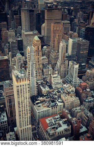 Midtown skyscraper buildings rooftop view in New York City
