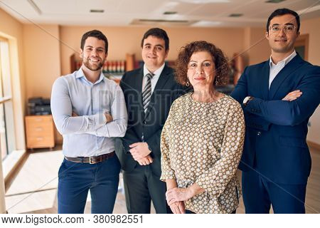 Business lawyers workers meeting at law firm office. Professional executive partners working on finance strategry at the workplace. Standing confident looking at the camera.