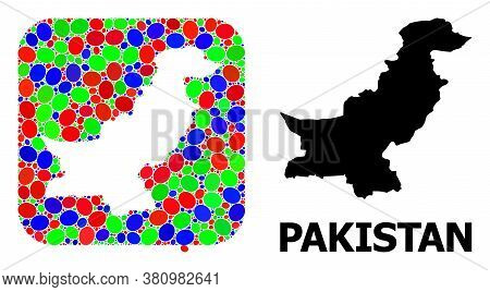 Vector Mosaic And Solid Map Of Pakistan. Bright Geographic Map Designed As Hole From Rounded Square