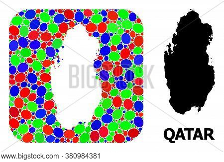 Vector Mosaic And Solid Map Of Qatar. Bright Geographic Map Designed As Hole From Rounded Square Wit